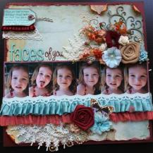 Faces of You: Bazzil Cardstock, BoBunny Papers, BoBunny Embellishments and trim, Glimmer Mists, Prima Bling, A2Z Scraplets Chipboard, Various Flowers including BoBunny, Prima, Green Tara & Kaisercraft.