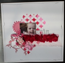 Mia: Bazzil Cardstock, WOW Embossing Powders, Pink Paislee Mask, A2Z Scraplets Chipboard, Websters Trim, Green Tara Mesh Ribbon, Doily.