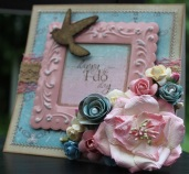 Happy I Do Day: Scrap Cake Papers, Sizzix 3D Die, Manor House Creations Flowers, Prima Flowers, Kaisercraft Flowers, Green Tara Flowers, Metal Frame, Kaisercraft Wood Accent, Tattered Angels Glimmer Mist, Kaisercraft Lace, Green Tara Mesh Ribbon