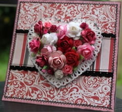 Card: Bo Bunny Papers, Heart Doily, Variety of Flowers including Kaisercraft, Green Tara & Prima