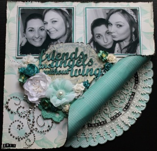 Friends: Pink Paislee & Kaisercraft Papers, Prima Flowers & embellishments, Tattered Angels Glimmer Mists, Green Tara Flowers, Kaisercraft Crochet Flower, Doily.